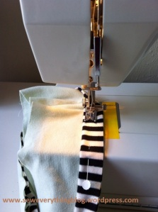attaching piping to top of faux cuff
