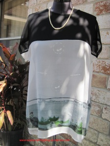 Black silk chiffon + silk scenic scarf = pretty tunic