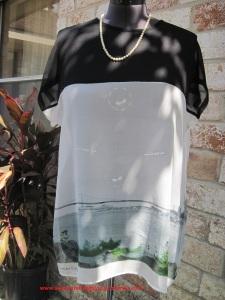 Black silk chiffon + silk scenic scarf = pretty tunic