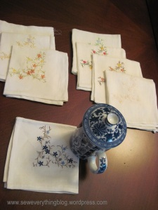 Finished tea napkins
