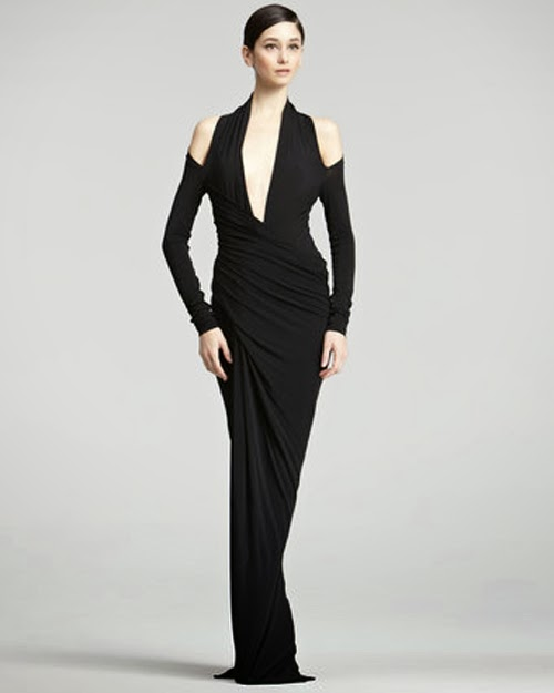 Donna Karan cold shoulder gown 2013