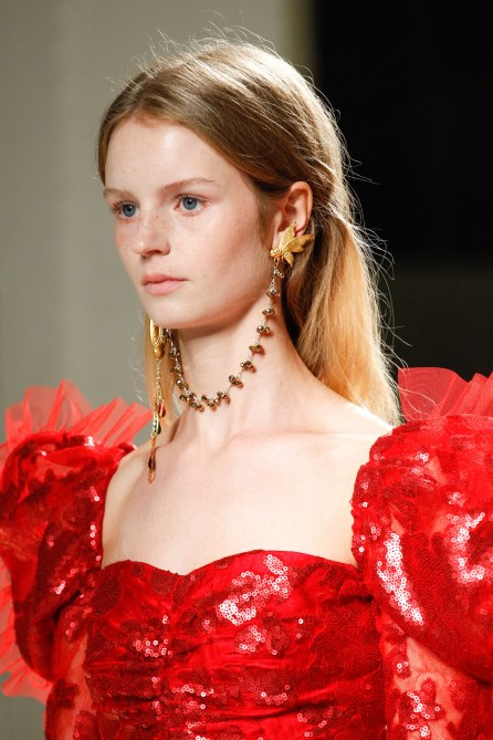 Necklace as earrings! Photo from Vogue Runway. Credit: Umberto Fratini/indigital.tv